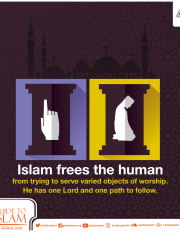 Islam frees the human from trying to serve varied objects of worship