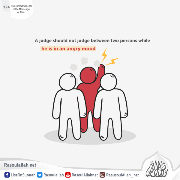 A judge should not judge between two persons while he is in an angry mood